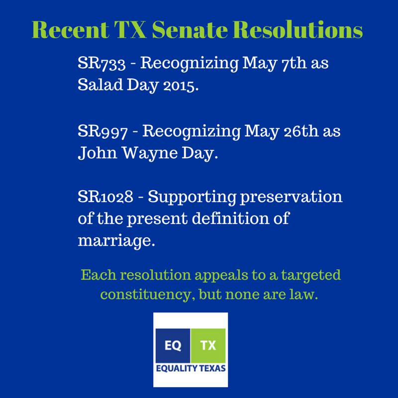 Recent TX Senate Resolutions
