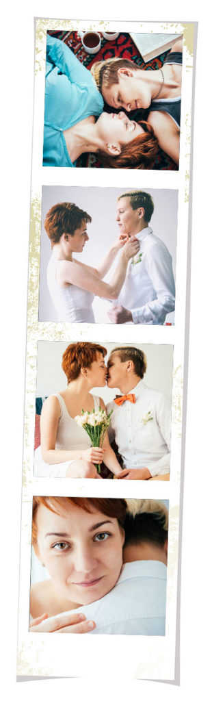 Photo strip showing couple getting ready for wedding day