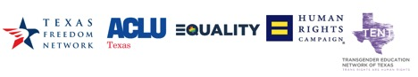 Logo of equality coalitions in Texas including Texas Freedom Network, ACLU Texas, Equality Texas, HRC, and TENT